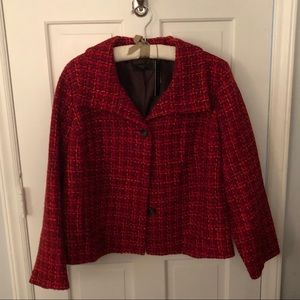 NWT Size 22 Talbots Red Plaid Tweed Blazer